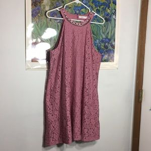 rose/mauve, lace, stone embellished dress.